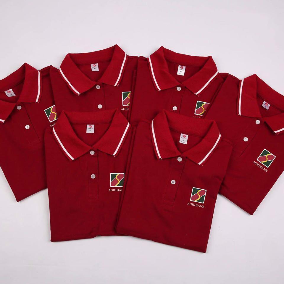 Áo thun đồng phục có cổ của ngân hàng agribank