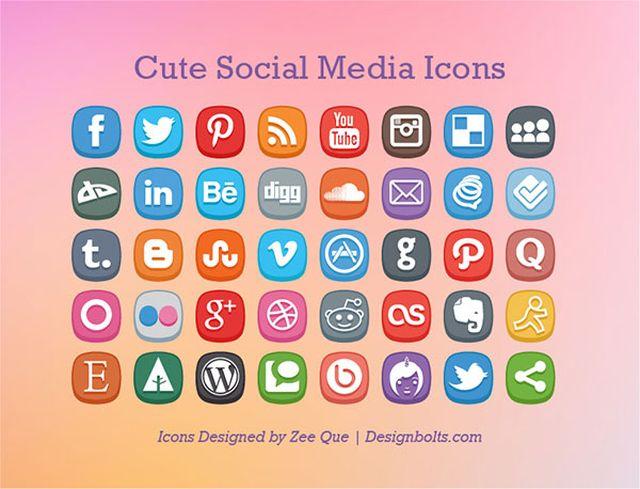 Free Cute Social Media Icons Cute Social Media Icons, iconos sociales gratuitos para tus proyectos