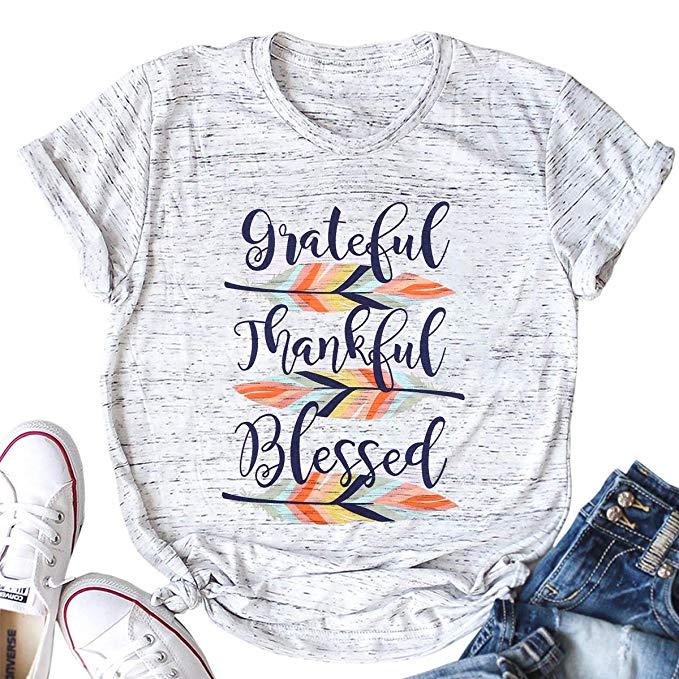 Mud Pie Baby Girls Little Grateful Thankful Blessed Long Sleeve T-Shirt