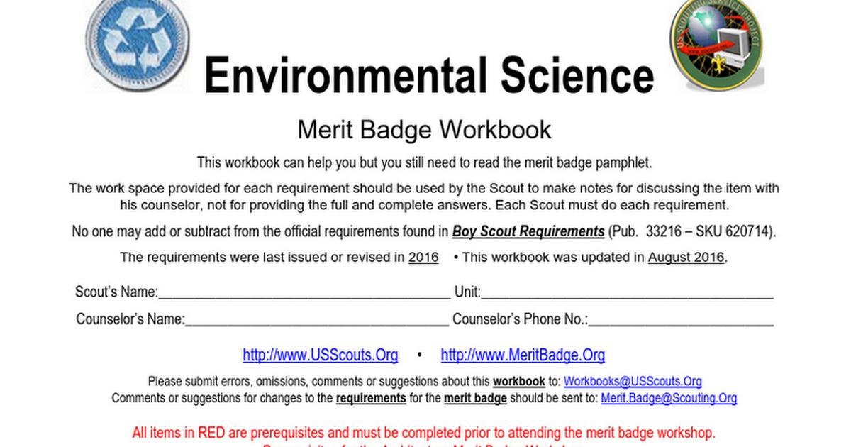 Environmental Science Merit Badge Mosi 2016 2017 Google Docs