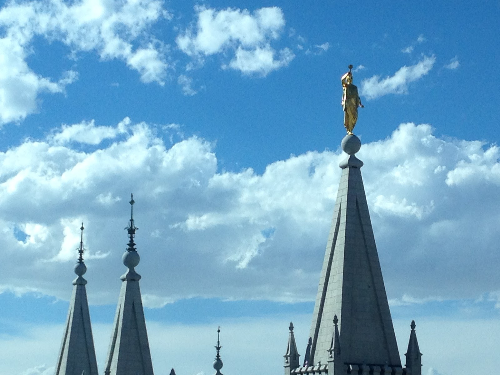 Angel Moroni stands atop Salt Lake Temple
