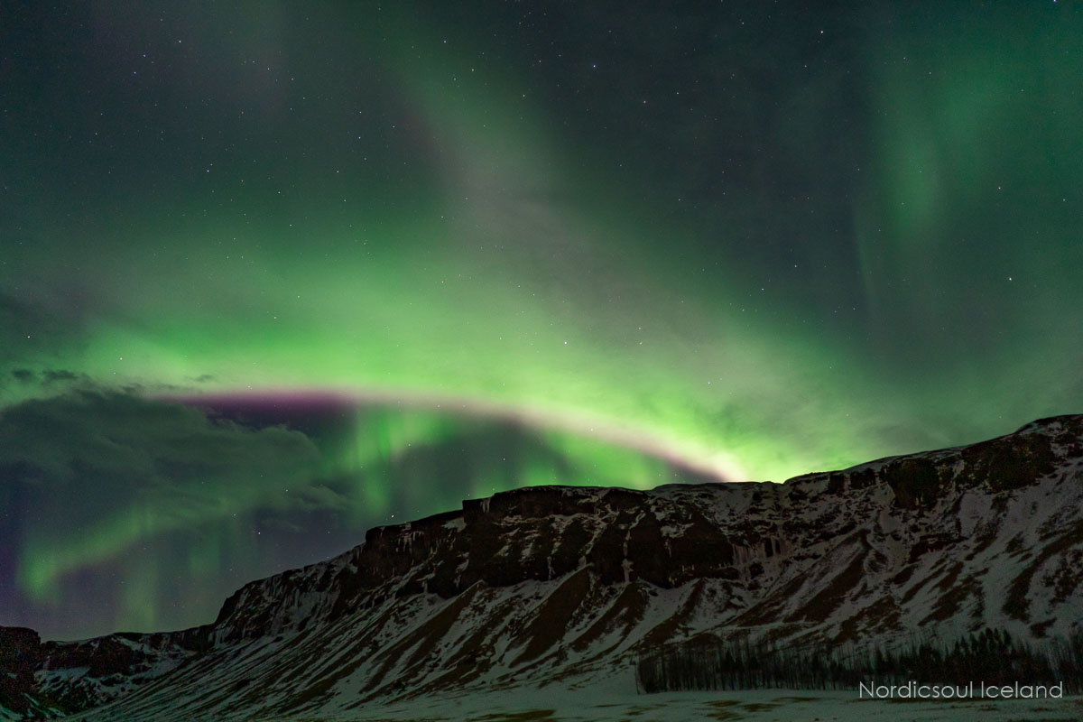 The Northern Lights over Mount Esja