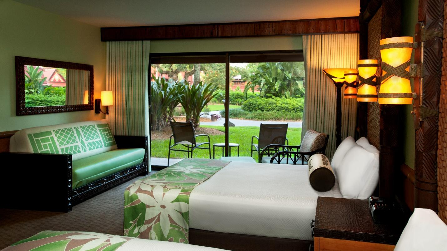 Disney resort hotel room with green nature theme
