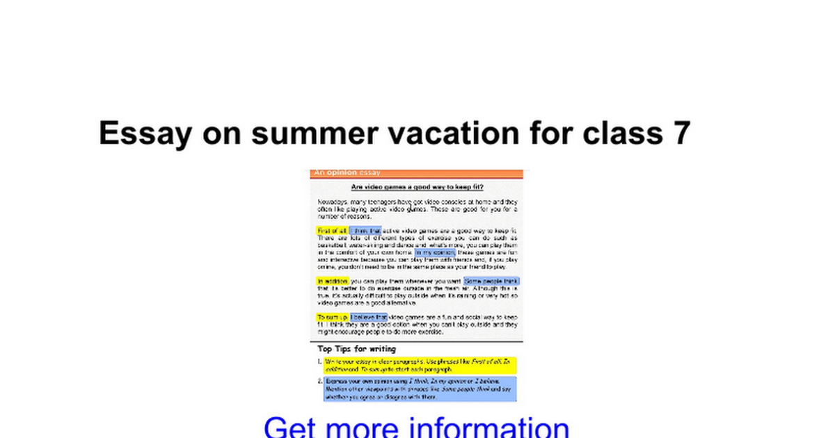 essay on summer vacation for class google docs