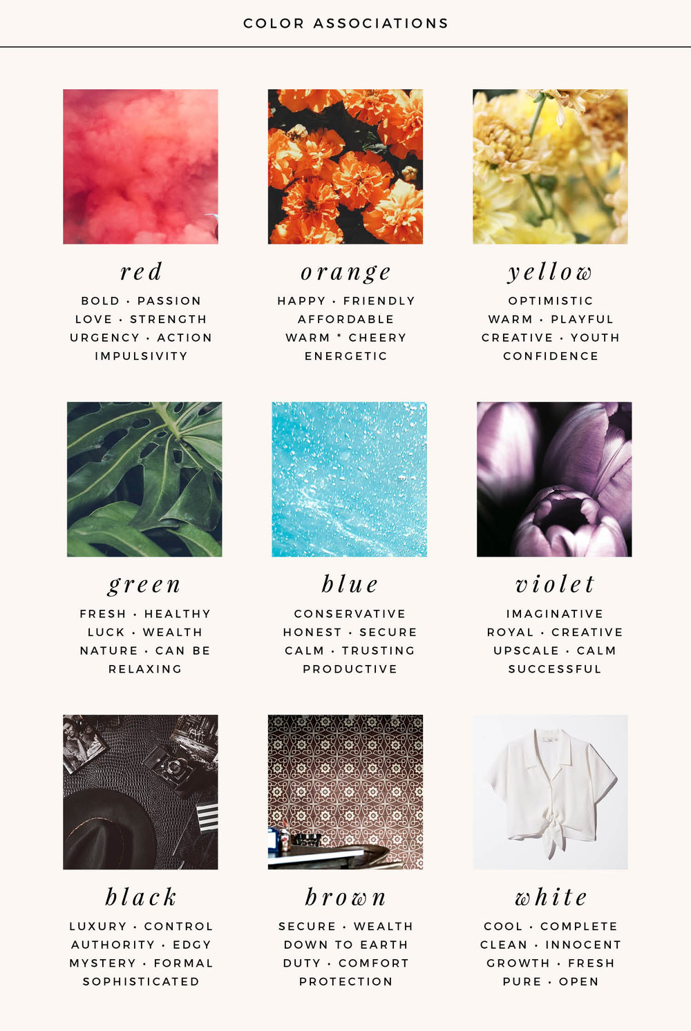 Color associations for different colors