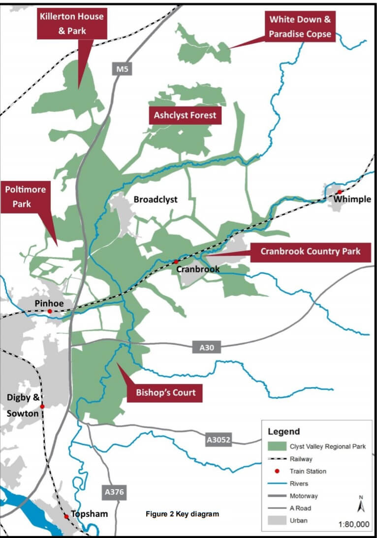 The area covered by the proposed Clyst Valley Regional Park. Image: EDDC
