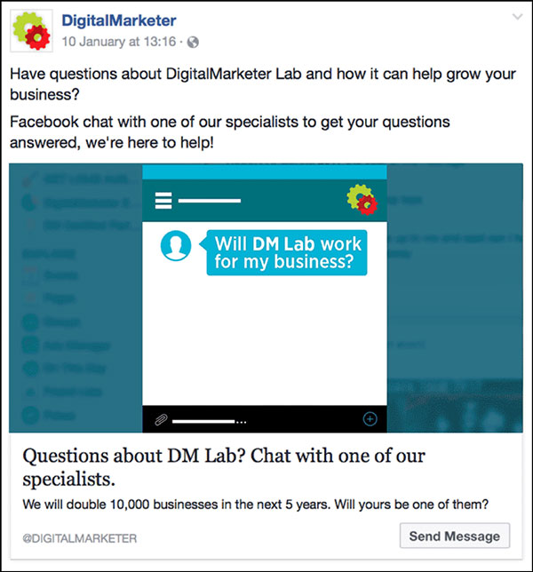 DigitalMarketer Direct Reponse Facebook Ad | 6 Direct Response Marketing Examples to Try Now