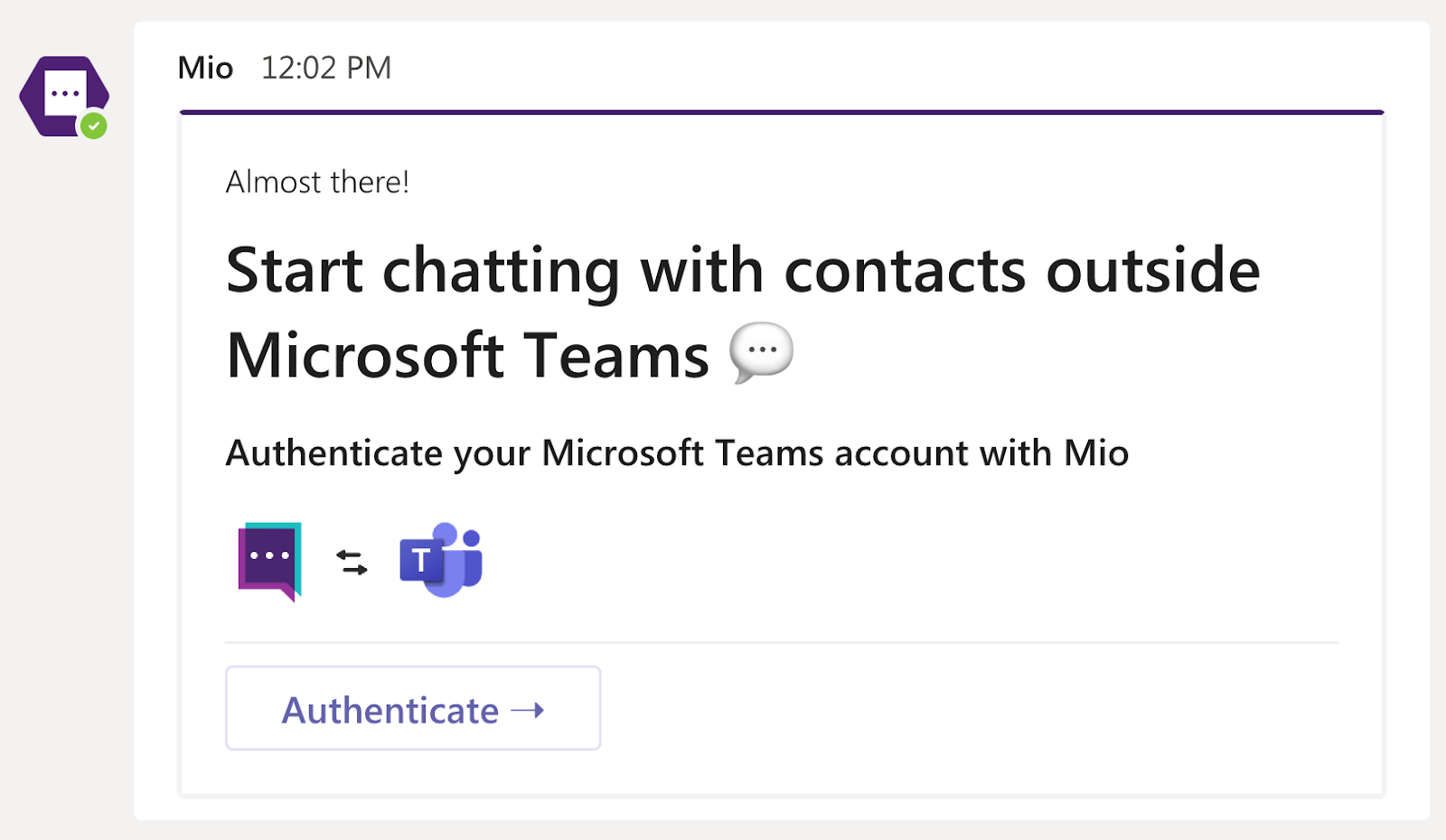 Authenticate your account for the Mio app