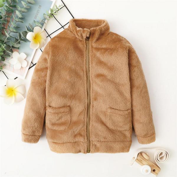 Toddler Unisex Super Soft Brown Faux Fur Jacket