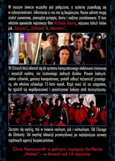 Tył ulotki filmu 'Haker'