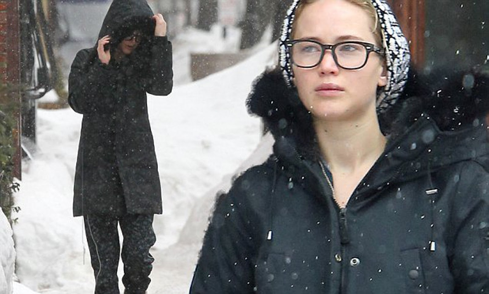 Jennifer is in the snowy weather