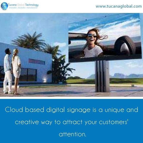 Use of cloud-based to digital signage as a creative tool to attract of customers. Source: Pinterest - Retail Digital Signage - Rev Interactive