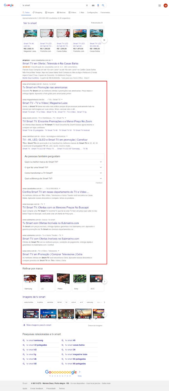 exemplo de busca no google