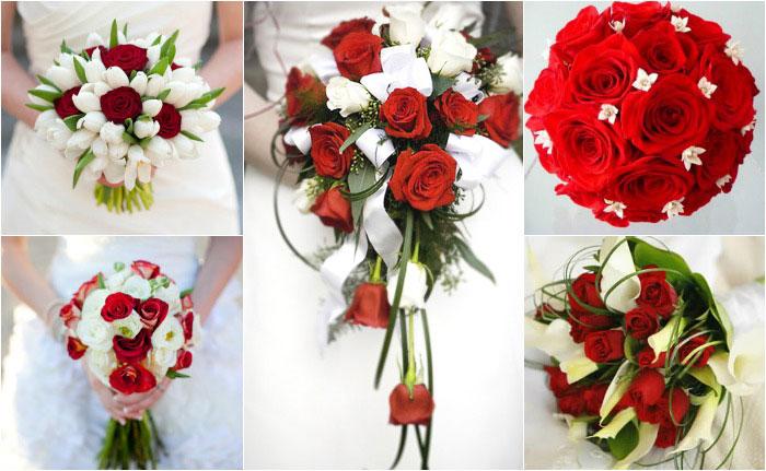 Свадебные букеты в красно-белых тонах