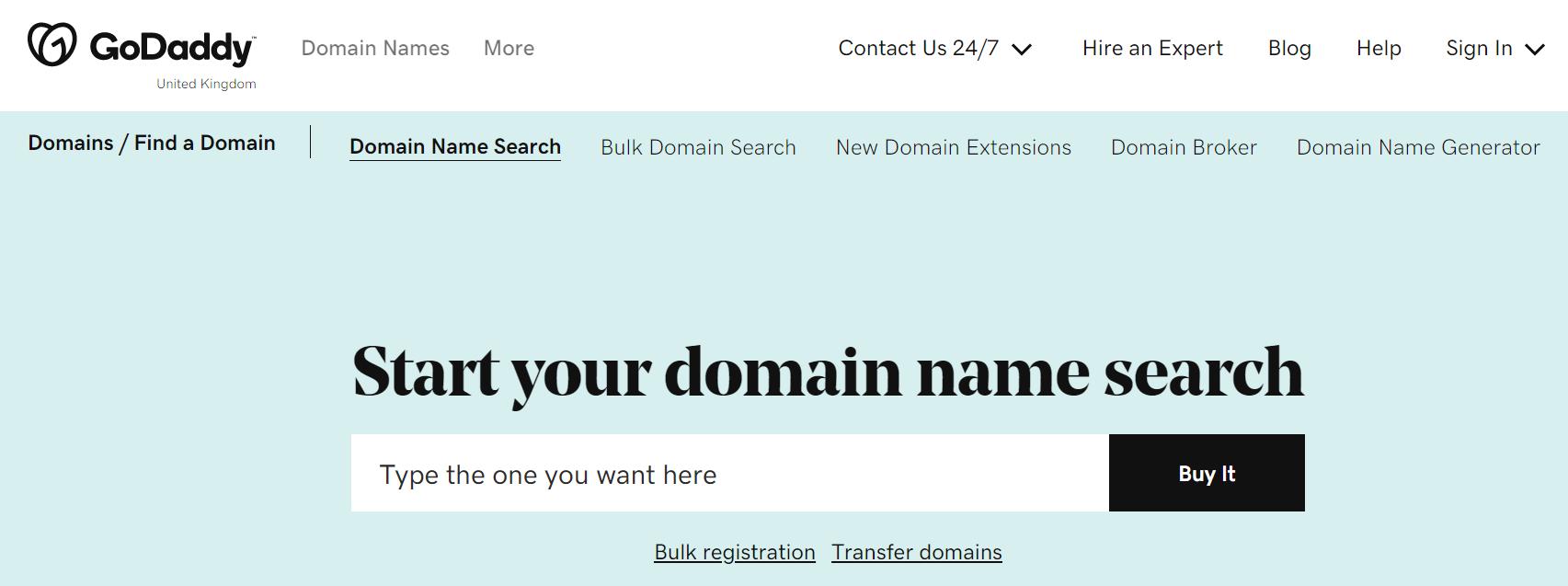 GoDaddy domain search