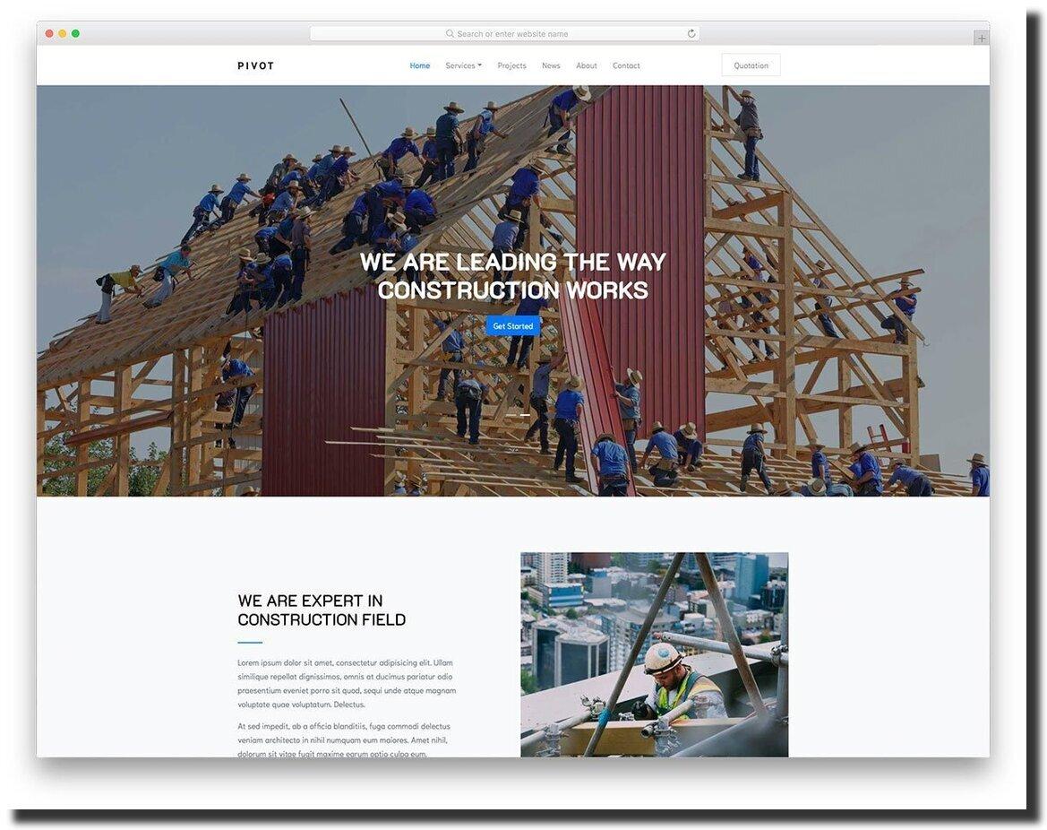 Pivot construction website design