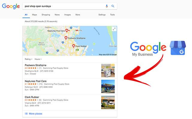 """The Google My Business """"3 pack"""" search results"""