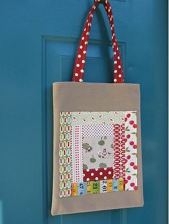 Quilted Book Bag Hanging on Door Handle