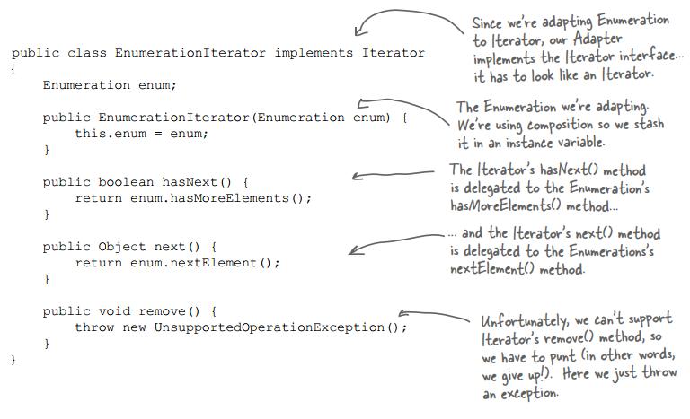 Viết adapter EnumerationIterator