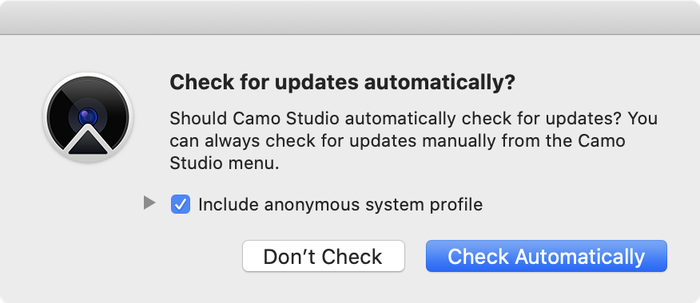 Camo Studio asking whether to check for updates