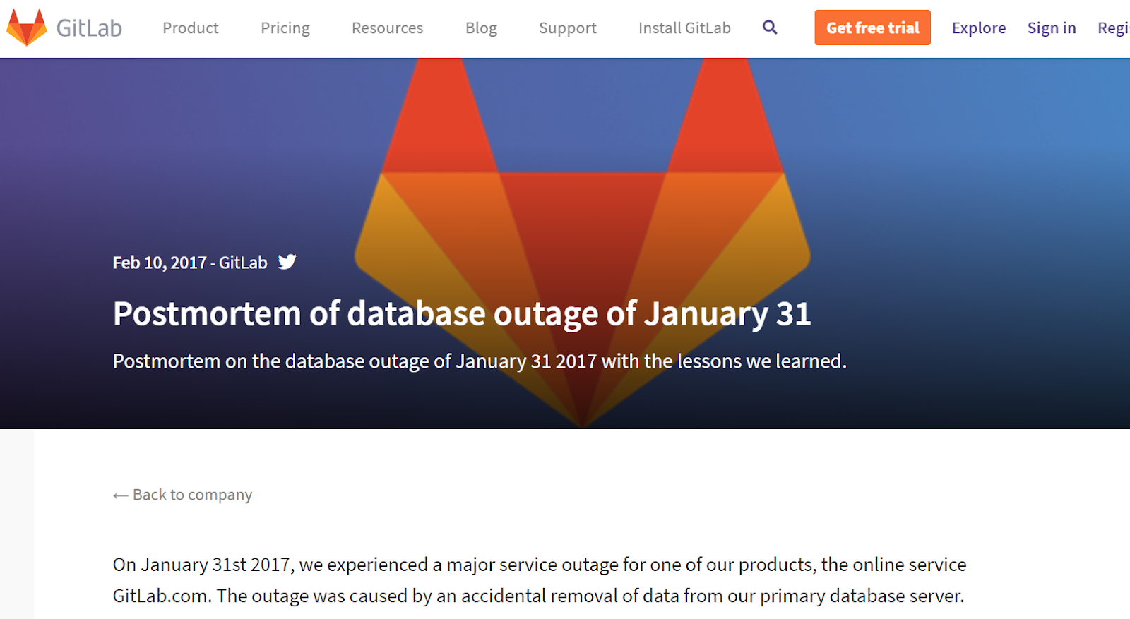 gitLab postmortem of database outage