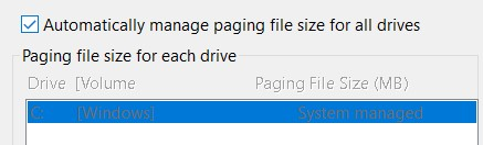 The Automatically manage paging file size for all drives checkbox in the Virtual Memory properties