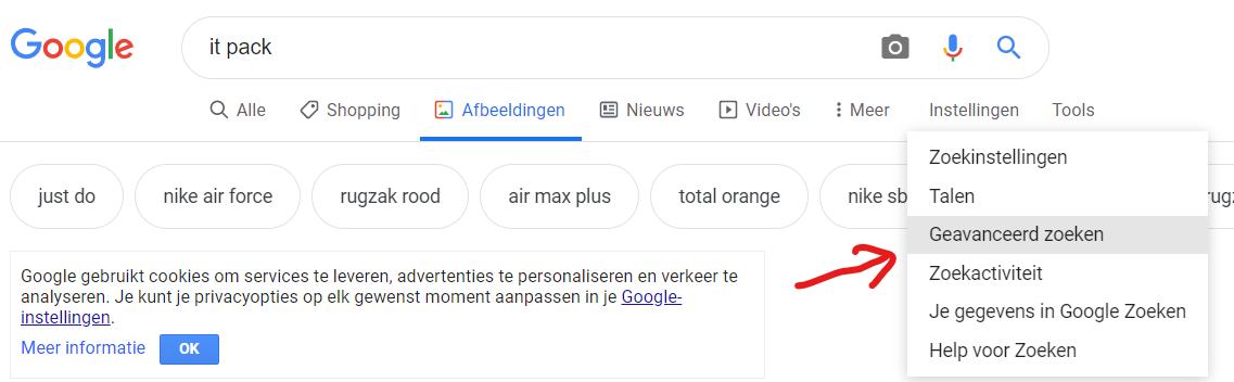Geavenceerd zoeken op Google afbeeldingen