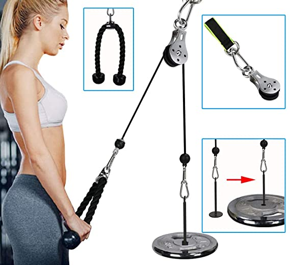PELLOR Forearm Wrist Arm Strength Training Rope Cable Pulley System which can be set up anywhere in your home
