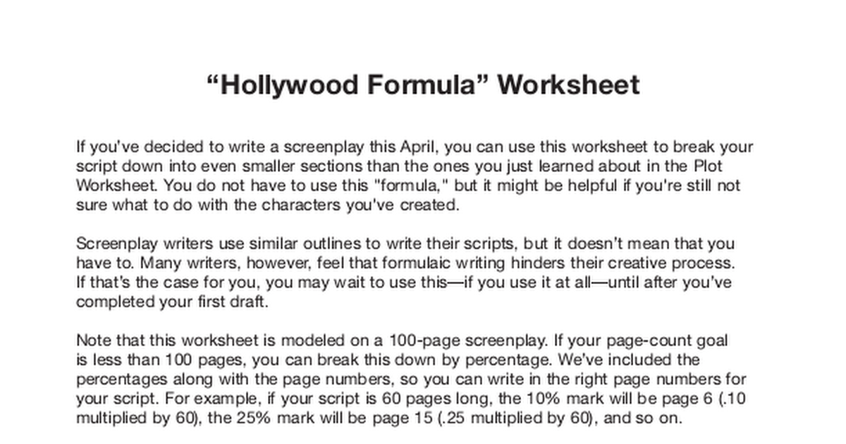 Hollywood Formula worksheetpdf Google Drive – Formula Worksheet