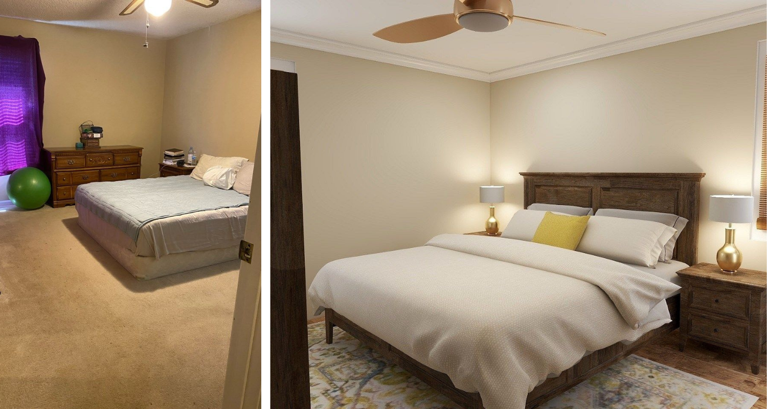 before and after bedroom gold ceiling fan and accent lamps Superior construction and design Lebanon, TN 1970s Ranch Reno