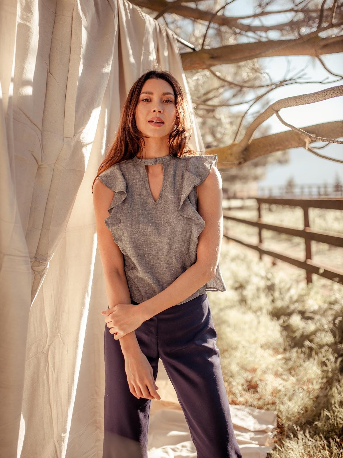 Valani sleeveless blouse made from eco-friendly hemp