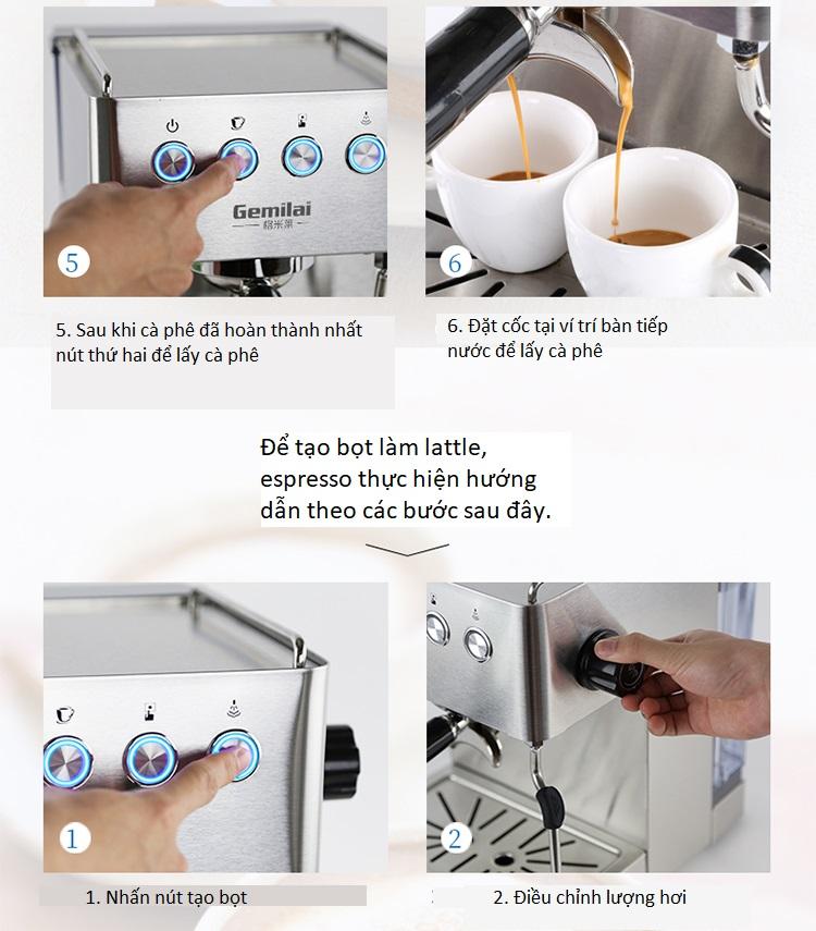 Máy pha cà phê Espresso, latte Gemilai CRM3005 - ảnh 7