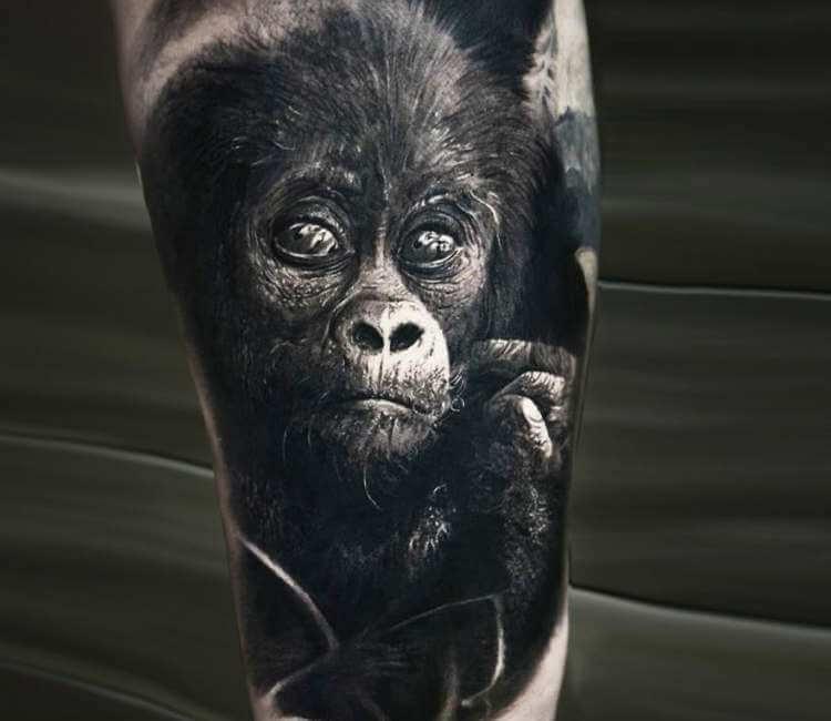 ลายสักลิงขาวดำ