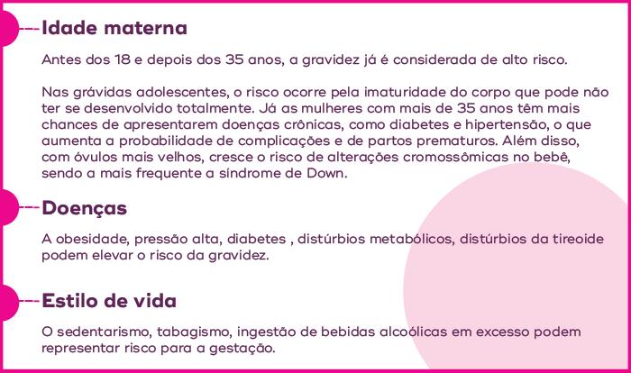 Quadro demonstrativo de fatores a serem evitados ou tratados para deixar a gravidez mais saudável