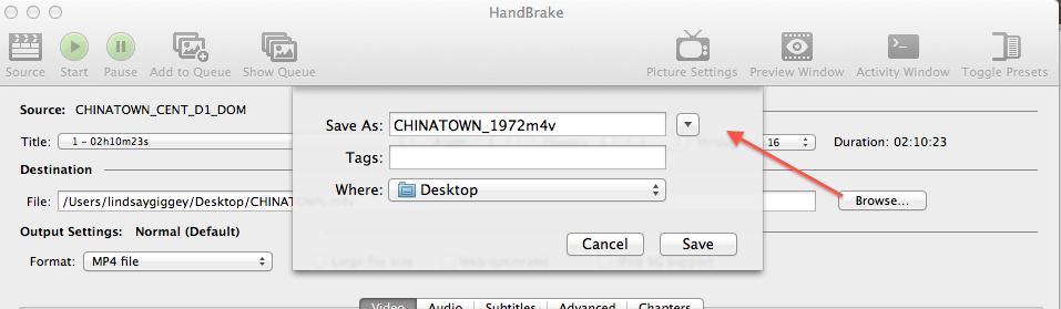 Handbrake - Browse and destination.png