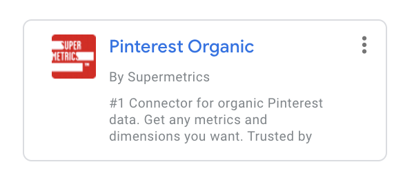 Connecteur Pinterest Organic by Supermetrics
