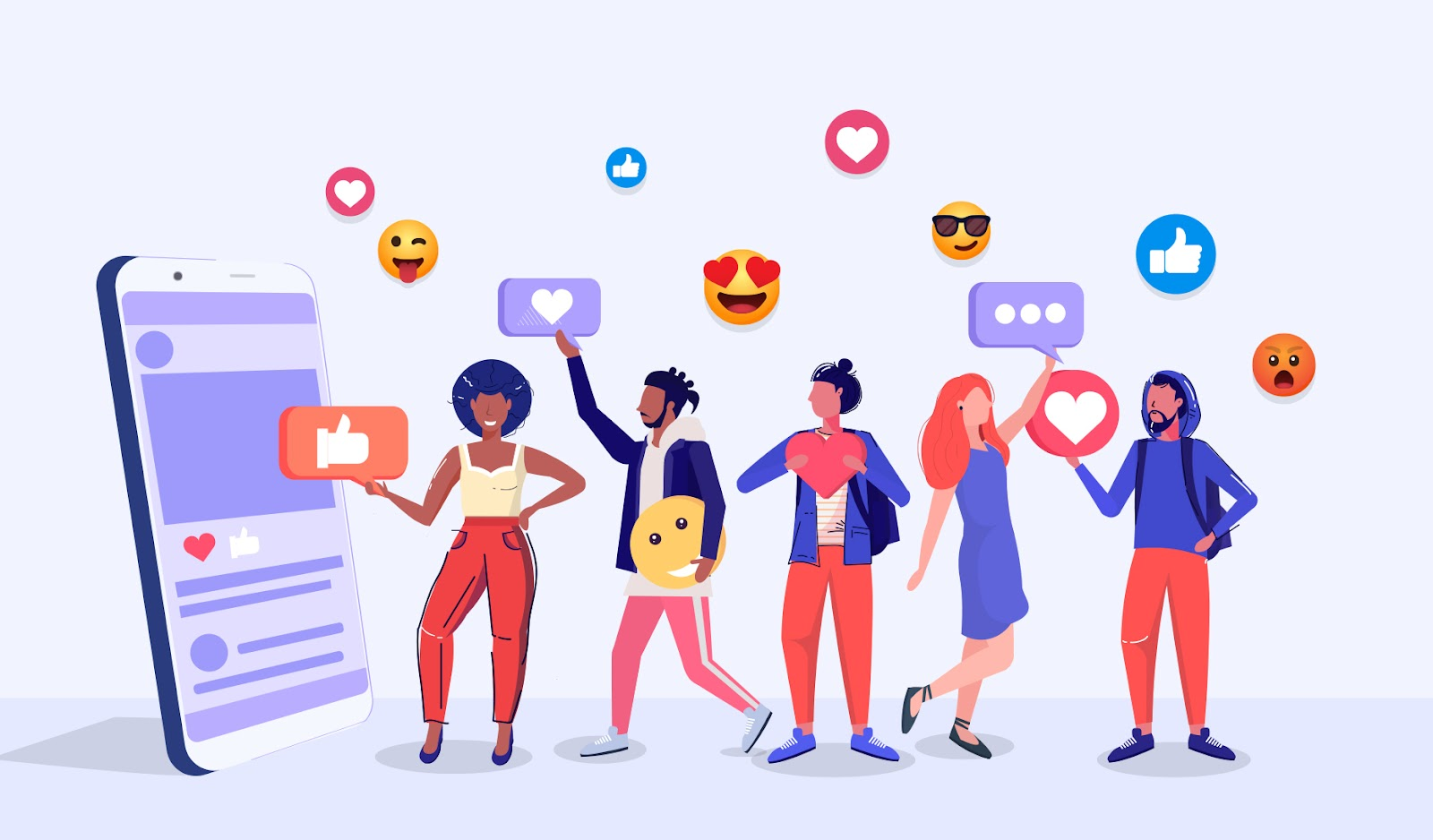 Illustration showing follower characters reacting to social media content with likes and emojis