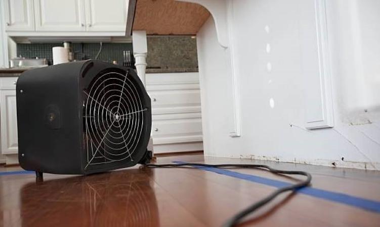 floor fan used in water damage restoration