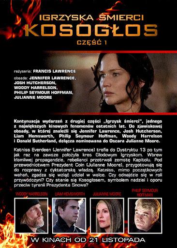 Tył ulotki filmu 'Igrzyska Śmierci: Kosogłos. Część 1'