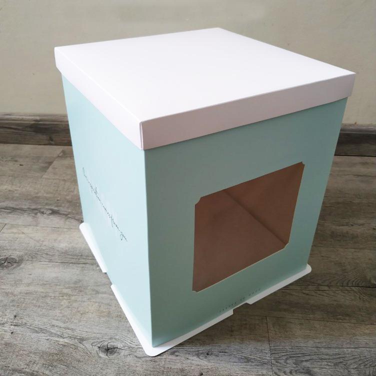 hộp bánh kem giấy có lớp kính trong suốt
