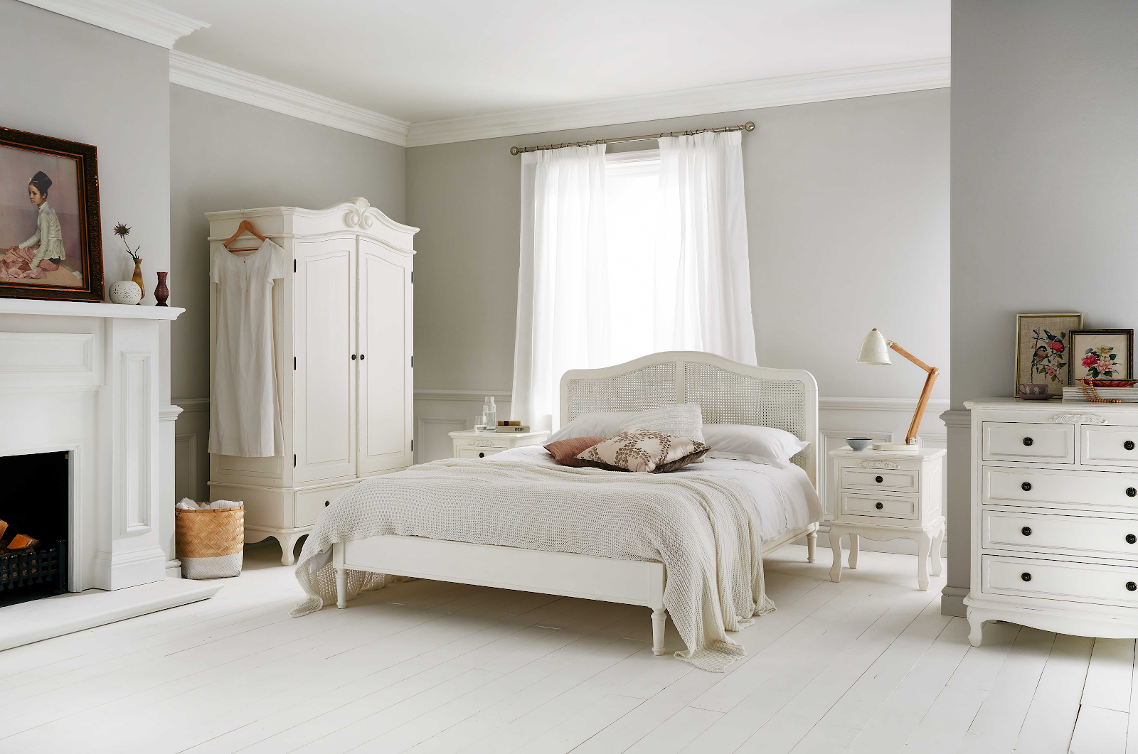 liberty rattan wooden bed in white