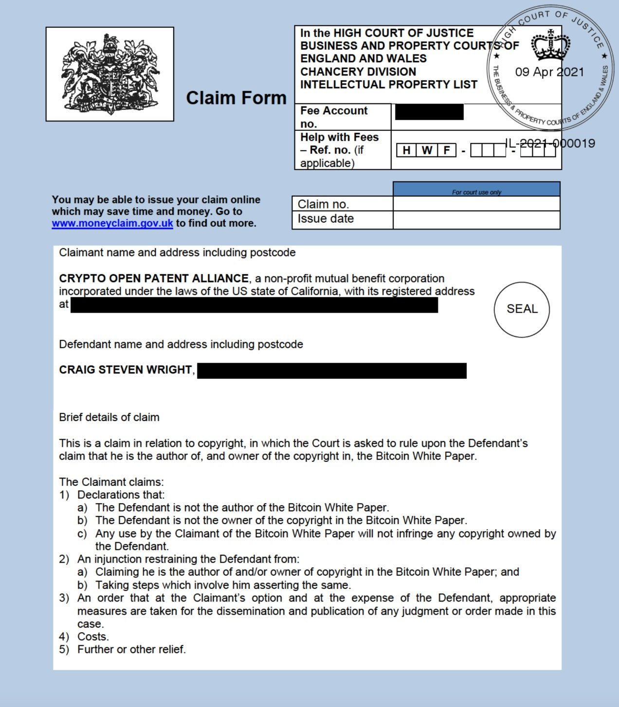 Formulário de reivindicação compartilhado no Twitter pela COPA.