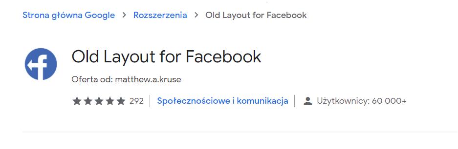 stary facebook wtyczka rozszerzenie