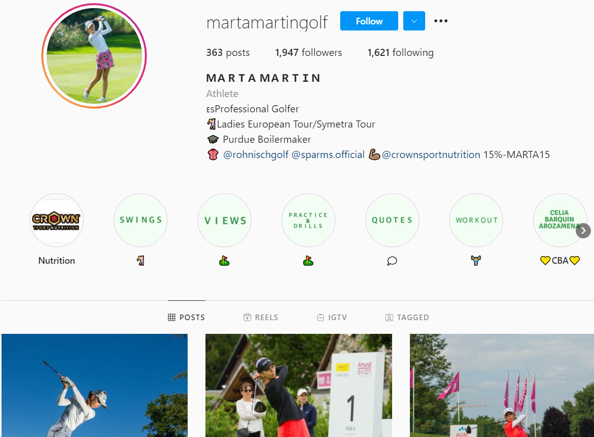 An example of what a professional golfer account might look like