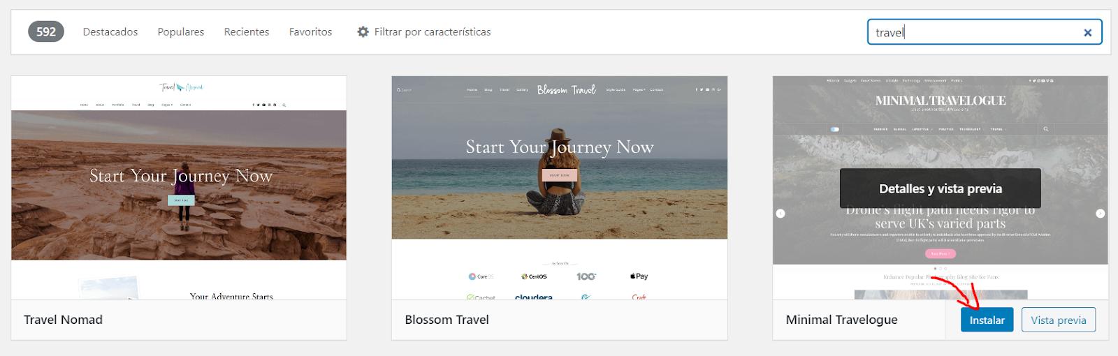 Temas de WordPress paso a paso para crear un blog de viajes