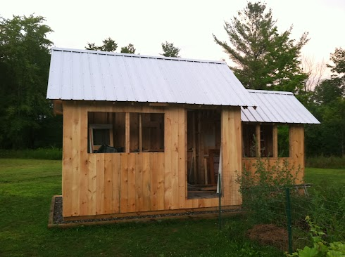 Shed and chicken coop sided in shiplap rough cut