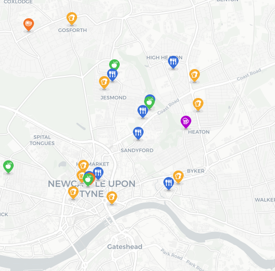 Shop on the Tyne is an interactive map supporting local Food and Drink businesses in the North East of England, created by furloughed staff at local agency, Evolved Search