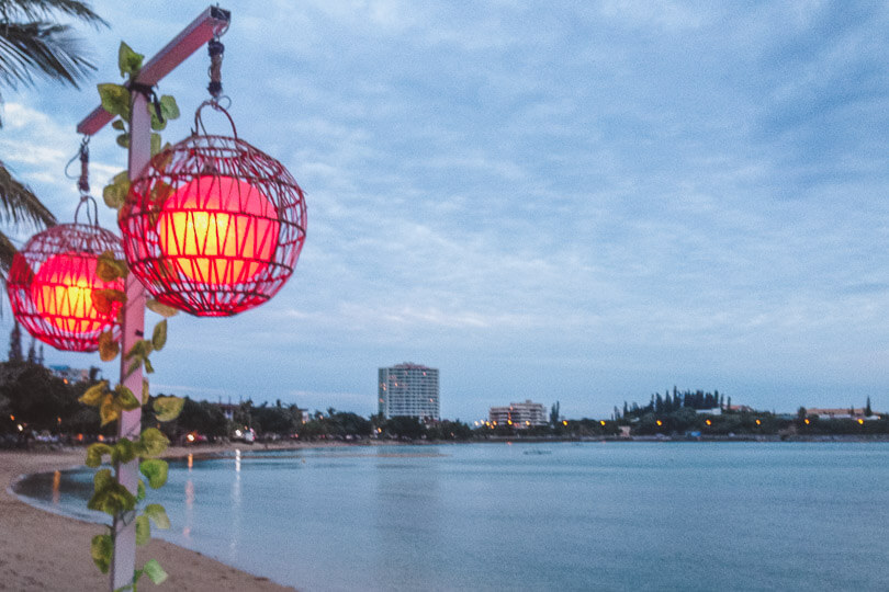 Lanterns at the only beach bar found on Baie Des Citrons in Noumea.