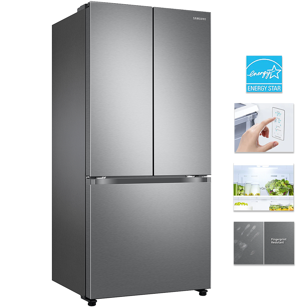 Samsung RF18A5101SR 33 inch Counter Depth 3-Door French Door Refrigerator 18 Cu. Ft.