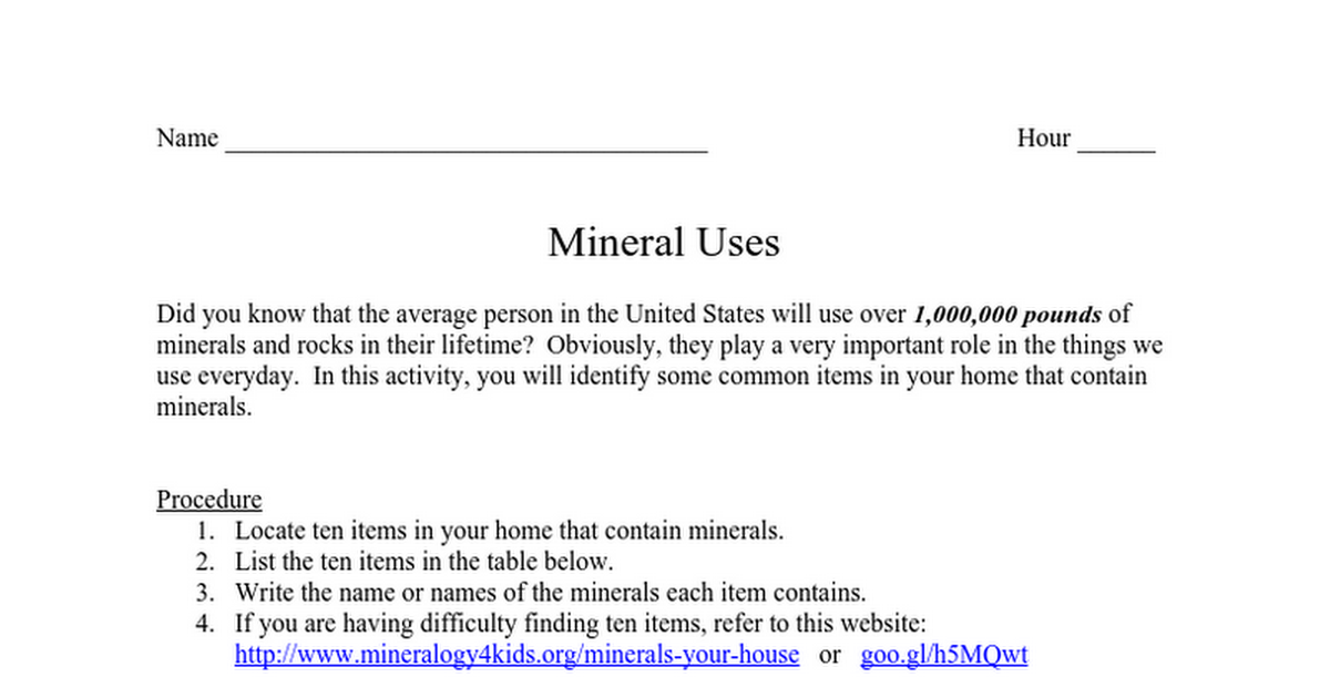8 Mineral Uses Worksheet Matt Google Docs